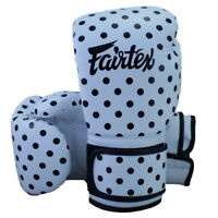 FAIRTEX MUAY THAI KICK BOXING GLOVES BGV14 WHITE BLACK DOT 12 OZ SPARRING MMA K1