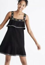Madewell Embroidered Tier Dress Size XXS $148 Style #G5433 New In Black Runs Big