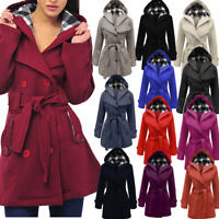 2017 Womens Hooded Trench Winter Coat Wool Blends Long Belt Jacket Outwear Tops