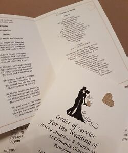 10 Personalised handmade A5 Wedding Order Of Service Cards many heart colours