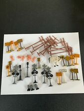 Vintage Large Lot HO Scale Train Phone Poles, People Signs Signals Workers