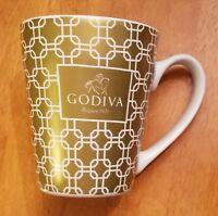 Godiva Coffee Tea Mug Chocolate BELGIUM 1926 Coffee Cup Gold White 2015 Squared