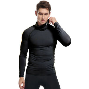 Men's High Collar Fitness Long-Sleeved T-Shirt Tight-Fitting Sports Solid Color