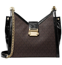 Michael Kors Whitney Small Signature Chain Shoulder Tote Brown/Black ~ MSRP $298