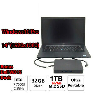 Dell Latitude 7480 i7 7600U 32GB DDR4 1TB NVMe SSD Win10 Ultra Book Laptop Dock