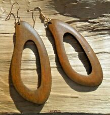 Wooden African Style Cutout Mid-Brown Hook Earrings Long Length 7.5cms x 3.5cms