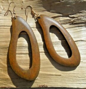 African Style Cutout Wooden Mid-Brown Hook Earrings Long Length 7.5cms x 3.5cms