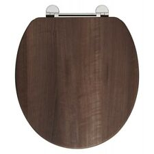 Dark Walnut Wooden Toilet Seat with Chrome Fittings - Soft Close