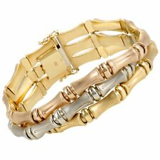 18K Rose White and Yellow Gold Bamboo Bracelet