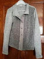 CAbi Women's Gray Square Stitch Snap Front Cardigan Sweater, md.