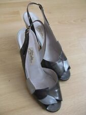 True Vintage 1980s Olive Silver Leather Italian Sandals Renata LabelEU38 1/2 5.5
