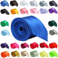 Multicolor Mens Slim Skinny Solid Color Plain Satin Tie Necktie High Quality