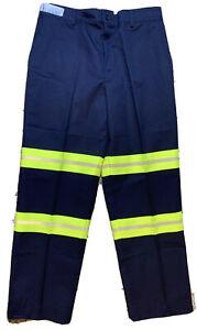 New Red Cap Mens Navy Hi-vis Reflective Work Pants 34x30
