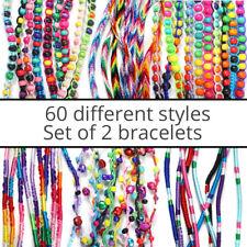 2 Kids Woven Colourful Fabric Handmade Cotton Thread String Friendship Bracelets