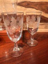 Set Of 6 Etched Glass Vintage High Sherbets