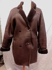 PUR VINTAGE 1980 MANTEAU  VESTE MOUTON LAINE / MARRON  SHEEPSKIN COAT REF 319