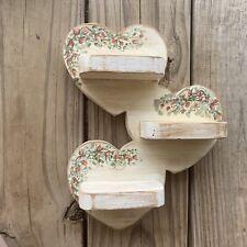 Vintage Wooden Knick Knack Shelf Wall Hang Display Miniature Heart Boho