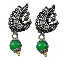 Jwellmart Indian Ethnic Oxidized Silver Peacock Stud Beads Earrings Free Ship