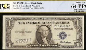 UNC 1935F $1 DOLLAR BILL SILVER CERTIFICATE BLUE SEAL NOTE PAPER MONEY PCGS 64