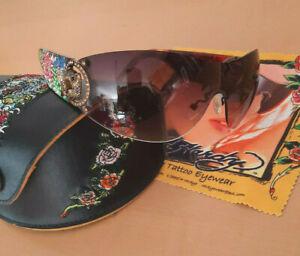 Original Ed Hardy Sonnenbrille mit Etui und Putztuch EHS030 Strass TOP