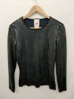 Black Sequins Top Long Sleeve Size 38 by Mondi Portugal