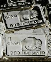 1 Gram .999 Fine Pure Silver Fractional Bullion Bar - Buffalo Design