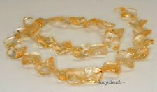 16MM  CITRINE QUARTZ GEMSTONE TWIST DIAMOND LOOSE BEADS 7.5""