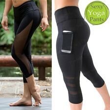 3/4 AU Women High Waist Yoga Fitness Leggings Capri Running Gym Sports Pants FQ