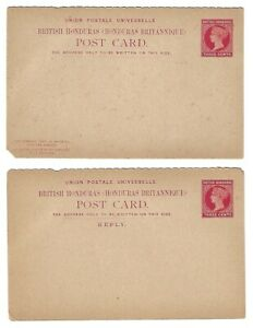 British Honduras: 1892; Postal Stationery with response, separate, defect EBB169