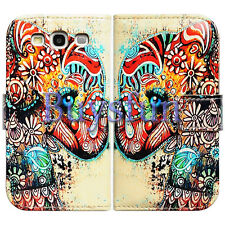 Bfun Colorful Floral Elephant Wallet Leather Case Cover For Samsung Galaxy S3