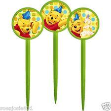 Disney Winnie Pooh 1st Birthday Dots Cupcake Picks 12pcs Toppers Decorations