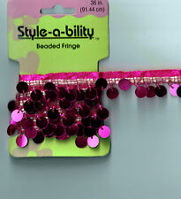 """One yard Hot Pink 3/8"""" Sequin & Glass Beaded Ribbon Trim Sewing Craft Supply New"""
