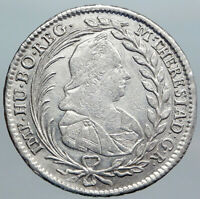 1768 AUSTRIA Queen Maria Theresia Antique Silver 20 Kreuzer Austrian Coin i88988