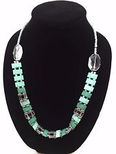 Turquoise Aqua Clear White Silver Beads Handmade Necklace Silver Lobster Clasp