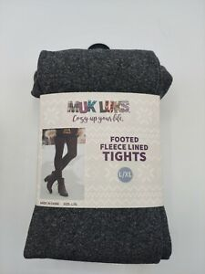 Muk Luks Footed Fleece Lined Tights Pack of 2 Large/XL Charcoal Gray Black
