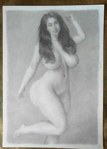 """""""MILA"""": erotic pencil drawing by artist PHIL HENDERSON, signed"""