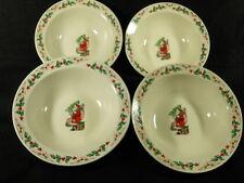 4 Gibson Christmas Santa & Tree Rim Soup Bowls -7-1/4 inches, Look unused, EUC