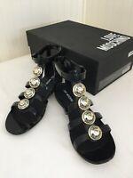 LOVE MOSCHINO Women's Black Gladiator Sandals - ITALY 37