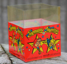 """Vintage 1991 Unused Retail Display 5 x 4"""" Plastic Box CHIPMUNKS CHIPETTES"""