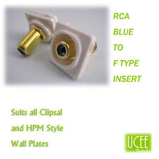 RCA - F Type Blue Audio Wall Plate Insert Fits CLIPSAL AND COMPATIBLE PLATES