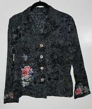 NWOT Citron Petite MEDIUM Floral Print and Embroidery Jacket
