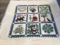 Appliqué Quilt, Schoolhouse, Flowers, Trees, Horse, Birds, Leaves, Pineapple