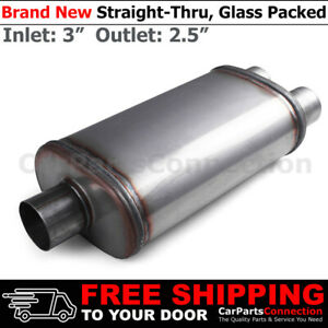 """3""""/2.5 inches Center In/Dual Out Stainless Steel Straight Street Muffler 200667"""