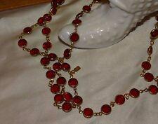 Swarovski Goldtone Long Flapper Style Bezel Set Red Crystal Necklace