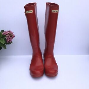 Hunter Ladies Red Tall Wellies Wellingtons Size 5 UK