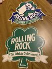 """Rolling Rock Beer signs 2 """"The Drinkin' O' the Green"""" cardboard"""