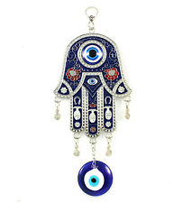 Hamsa Hand Blue Evil Eye Charm Amulet Hanging Or Wall Decoration For Protection