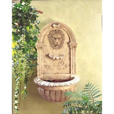 Classically Inspired European Antique Replica Lion Head Faux Stone Wall Fountain