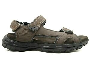 Skechers Relaxed Fit Brown Casual Adjustable Slip On Sandals Shoes Men's 10