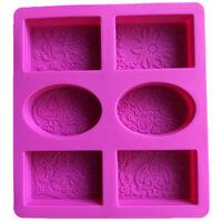 Moule À Savon en Silicone pour la Fabrication de Savon 3D 6 Formes Ovale Rect V5